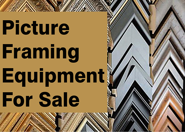 Examples of available picture frames with the text 'Picture framing equipment for sale'